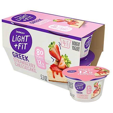 Dannon Light & Fit Yogurt Greek Nonfat Strawberry Cheesecake - 4-5.3 Oz