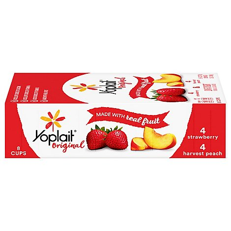 Yoplait Original Yogurt Low Fat Strawberry & Harvest Peach - 8-6 Oz