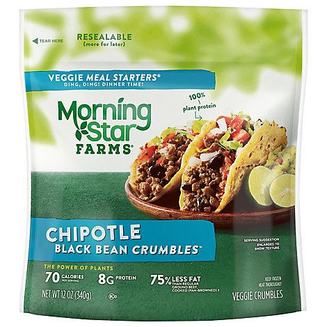 Morningstar Farms Veggie Meal Starters Chipotle Black Bean Crumbles Vegetarian Bag 12 oz
