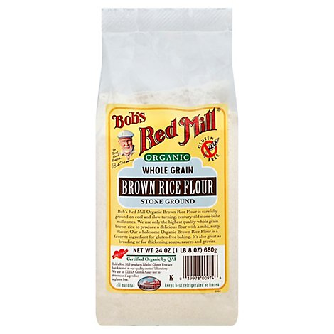 Bobs Red Mill Organic Flour Brown Rice Stone Ground Whole Grain - 24 Oz