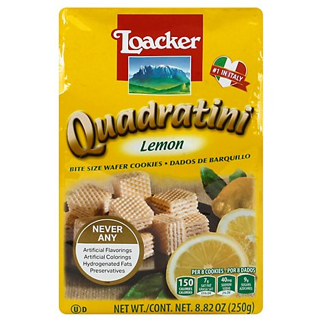 Loacker Quadratini Cookies Wafer Bite Size Lemon - 8.82 Oz