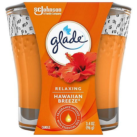 Glade Jar Candle Hawaiian Breeze Quickly Fills Rooms With Essential Oil Infused Fragrance 3.4 oz