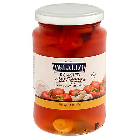 DeLallo Peppers Roasted Red in Olive Oil with Garlic - 12 Oz