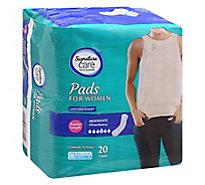 Signature Care Pads For Women Moderate Absorbency Regular Length - 20 Count