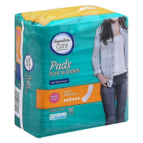 Signature Care Pads For Women Light Abosrbency Regular Length - 30 Count