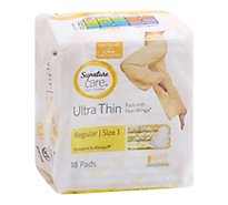 Signature Care Pads With Flexi Wings Ultra Thin Regular Absorbency - 18 Count