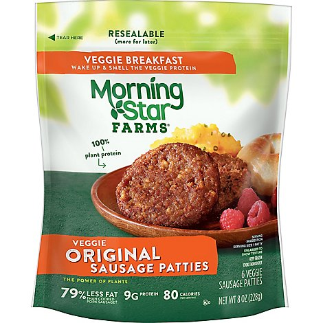 MorningStar Farms Veggie Breakfast Sausage Patties Original - 8 Oz