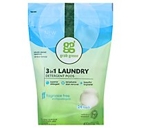 Grab Green Laundry Detergent Pods 3 In 1 Fragrance Free 24 Loads Pouch - 15.2 Oz