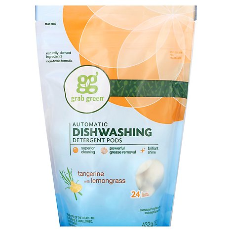 Grab Green Dishwashing Detergent Pods Automatic Tangerine With Lemongrass 24 Count - 15.2 Oz