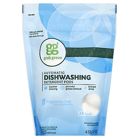 Grab Green Dishwashing Detergent Pods Automatic Fragrance Free 24 Count - 15.2 Oz