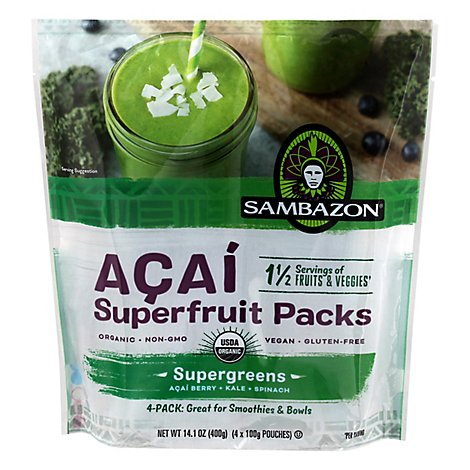 Sambazon Organic Superfruit Packs Supergreens Acai - 4-3.5 Oz