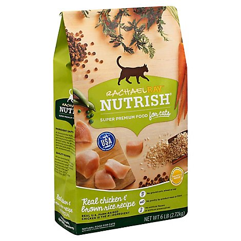 Rachael Ray Nutrish Dry Cat Food Super Premium Real Chicken & Brown Rice Recipe - 6 Lb