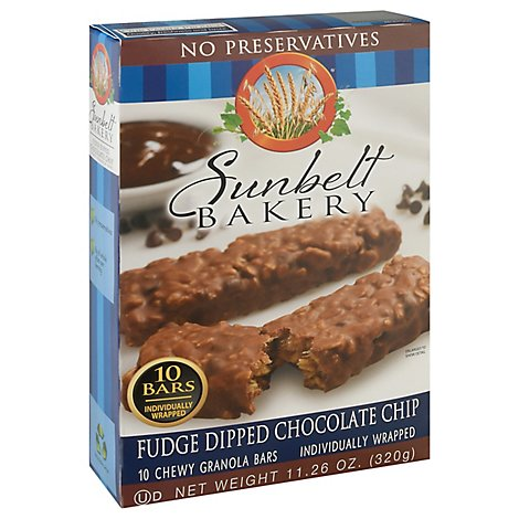 Sunbelt Bakery Granola Bars Chewy Fudge Dipped Chocolate Chip Box 10 Count - 11.26 Oz