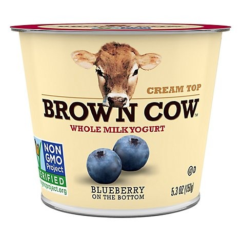 Brown Cow Cream Top Yogurt Whole Milk Blueberry - 6 Oz