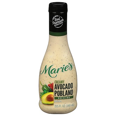 Maries Salad Dressing Real Premium Non Gmo Oil Creamy Avocado Poblano - 11.5 Fl. Oz.