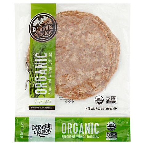 La Tortilla Factory Tortillas Organic Sprouted Wheat Bag 6 Count - 7.62 Oz