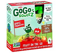 GoGo squeeZ Applesauce Apple Strawberry- 4-3.2 Oz