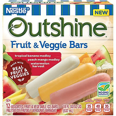 Outshine Ice Bars Fruit & Veggie Bars Assorted 12 Count - 18 Fl. Oz.