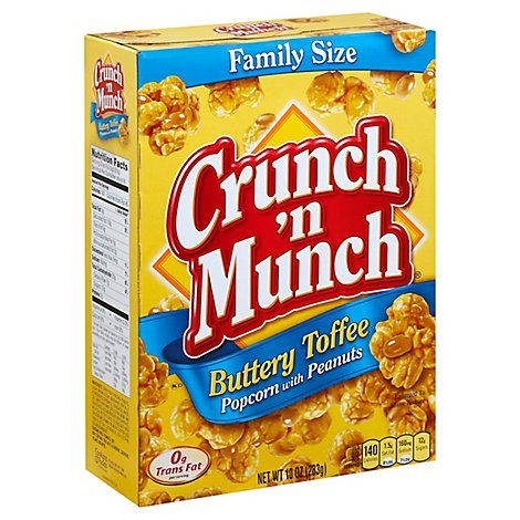 Crunch N Munch Popcorn with Peanuts Buttery Toffee Family Size - 10 Oz