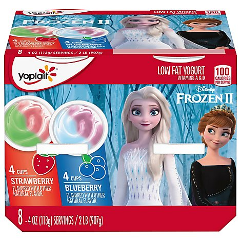 Yoplait Yogurt Low Fat Disney Frozen Blueberry Strawberry Value Pack - 8-4 Oz