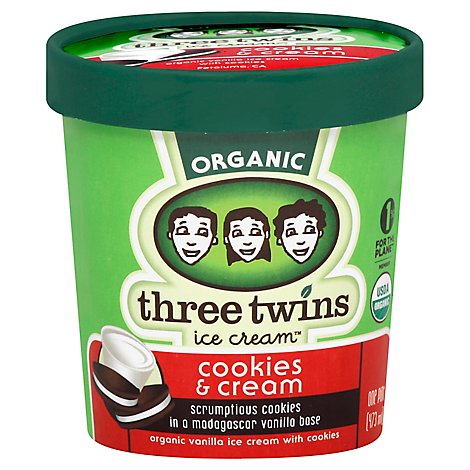 Three Twins Cookies & Cream Ice Cream Og - 1 Pint