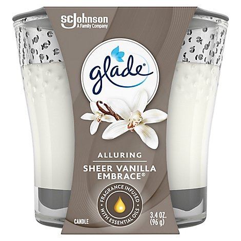 Glade Jar Candle Air Freshener Sheer Vanilla Embrace 3.4 oz