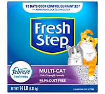 Fresh Step Cat Litter Clumping Multi Cat With Febreze Fresh Clean Scent Box - 14 Lb