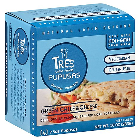 Tres Latin Foods Green Chile & Cheese Pupusas - 4-2.5 Oz