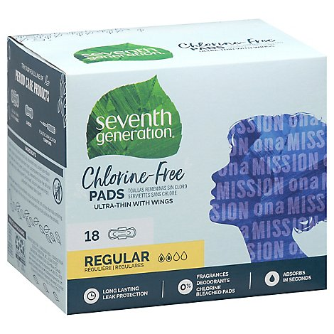 Seventh Generation Pads Free & Clear Ultra Thin With Wings Regular Absorbency - 18 Count