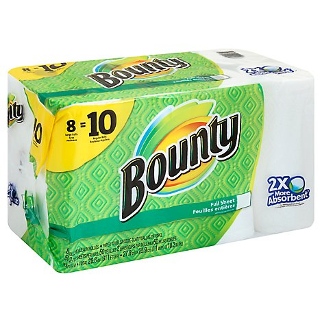 Bounty Paper Towels Full Sheet Large Rolls 2-Ply White - 8 Roll