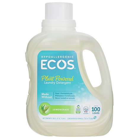 ECOS Laundry Detergent Liquid With Built In Fabric Softener 2X Lemongrass Jug - 100 Fl. Oz.