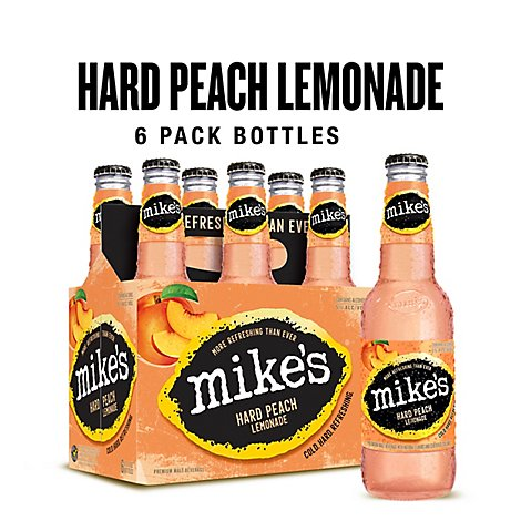 Mikes Hard Beverage Cool Hard Refreshing Lemonade Peach Bottle - 6-11.2 Fl. Oz.