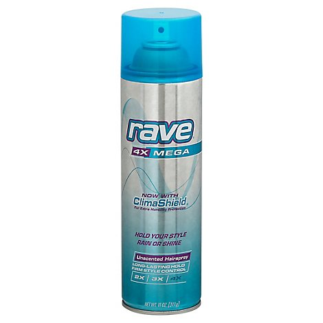 Rave Hair Spry Aerosol Unscented Mega H - 11 Oz
