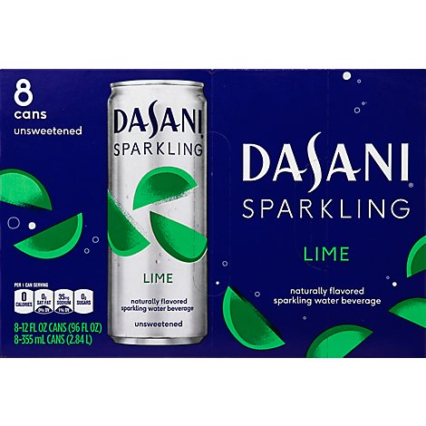 Dasani Water Sparkling Zero Calorie Lime Flavored 8 Count - 12 Fl. Oz.