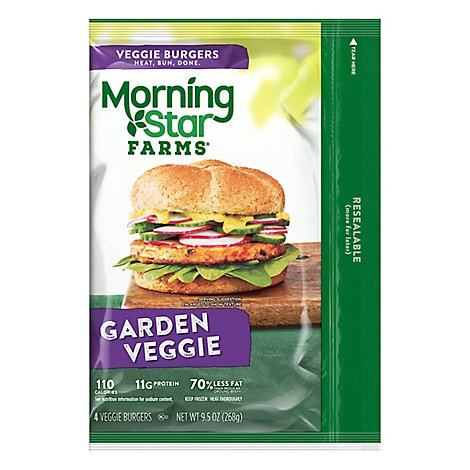 MorningStar Farms Veggie Burgers Garden Veggie Vegetarian Good Source of Protein Bag 9.5oz