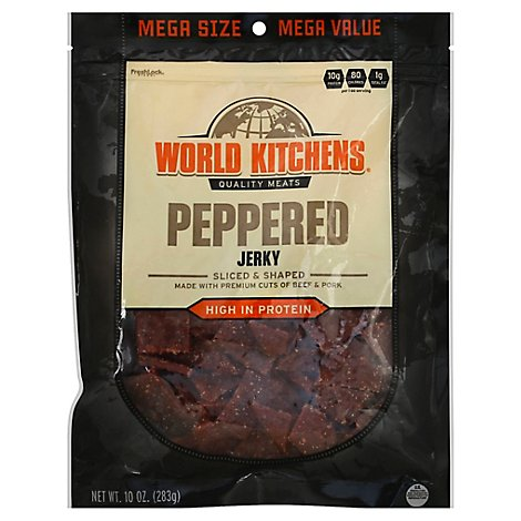 World Kitchens Jerky Sliced & Shaped Peppered - 10 Oz