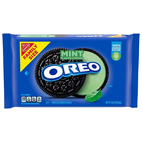 OREO Sandwich Cookies Mint Chocolate Creme Family Size - 20 Oz