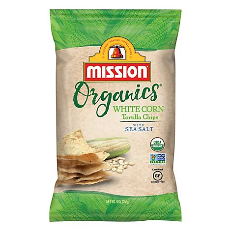 Mission Organics Tortilla Chips White Corn - 9 Oz