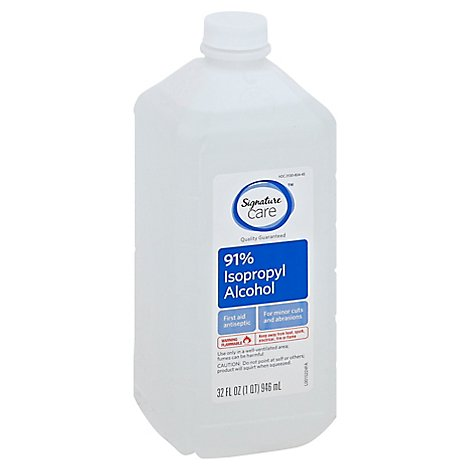 Signature Care Alcohol Isopropyl 91% First Aid Antiseptic - 32 Fl. Oz.