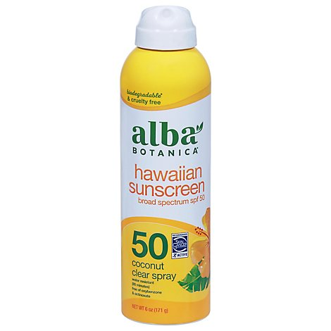 Alba Botanica Sunscreen Clear Spray Nourishing Coconut Broad Spectrum SPF 50 - 6 Fl. Oz.