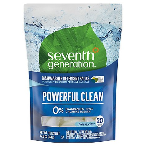 Seventh Generation Dishwasher Detergent Packs Powerful Clean Free & Clear - 20 Count