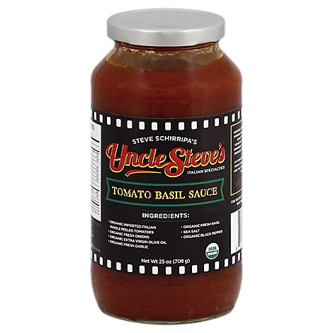 Uncle Steves Pasta Sauce Tomato Basil Jar - 25 Oz