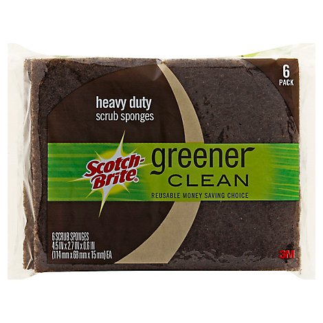 Scotch-Brite Greener Clean Scrub Sponges Heavy Duty Pack - 6 Count