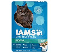 IAMS Proactive Health Cat Food Adult Indoor Weight & Hairball Care with Chicken - 10.8 Lb