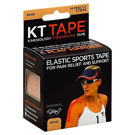 KT Tape Elastic Sports Tape For Pain Relief And Support Original Beige Strips - 14 Count