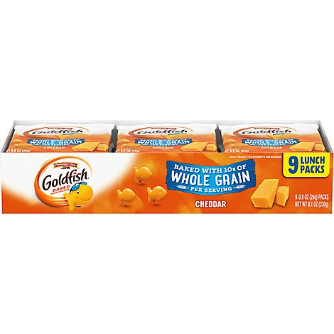 Pepperidge Farm Goldfish Crackers Baked Snack Whole Grain Cheddar Tray 9 Pack - 9-0.9 Oz