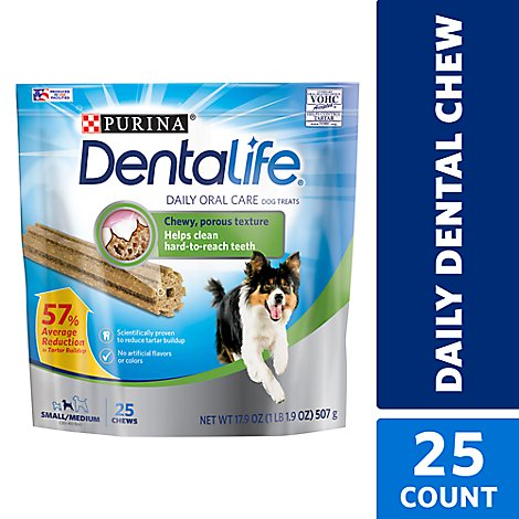 Dentalife Dog Treats Daily Oral Care Small To Medium 25 Count - 17.9 Oz