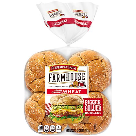 Pepperidge Farm Farmhouse Hearty Buns Wheat Stone Ground 8 Count - 20 Oz