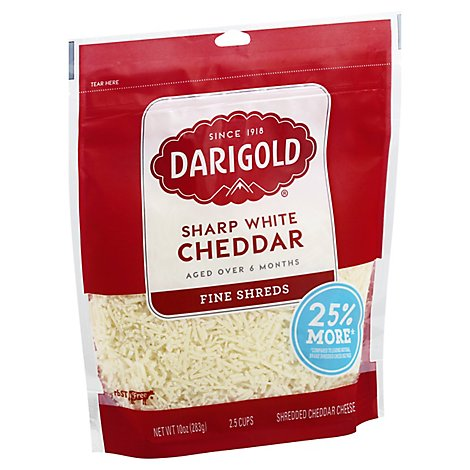 Darigold Cheese Fine Shreds Cheddar Sharp White - 10 Oz