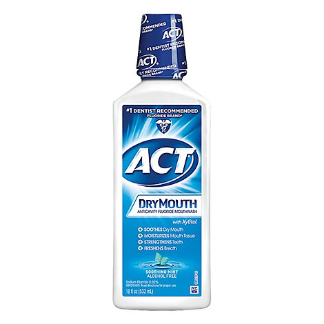 ACT Mouthwash Anticavity Fluoride Dry Mouth Soothing Mint - 18 Fl. Oz.